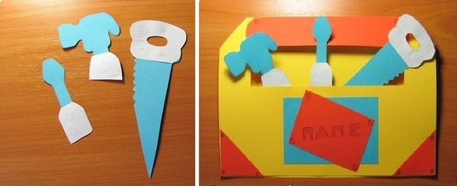 Красивый «Ящик с инструментами»: шаблон красивой бумажной поделки папе_5