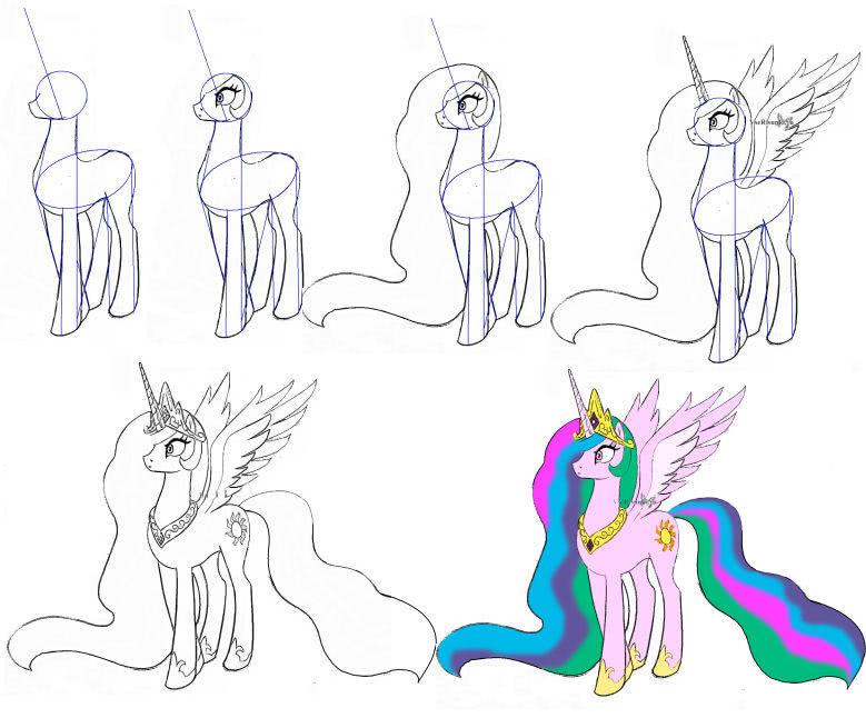 Лёгкие и красивые рисунки пони и единорога карандашом для девочек-1