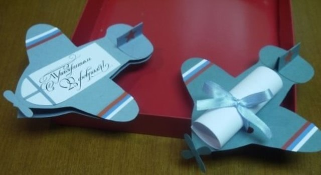 «Самолет с посланием» - одна из самых красивых поделок на основе бумажного шаблона_1