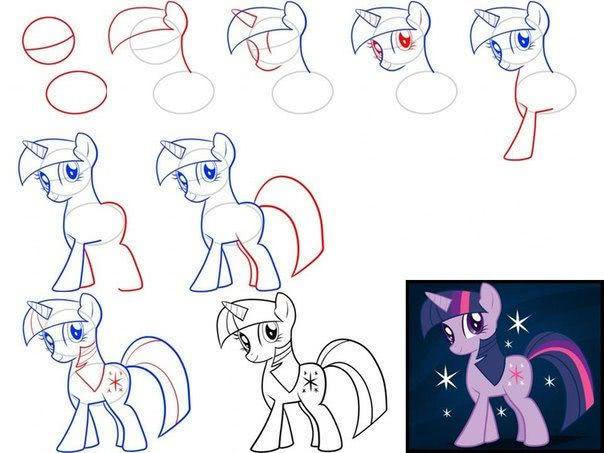 Лёгкие и красивые рисунки пони и единорога карандашом для девочек-2