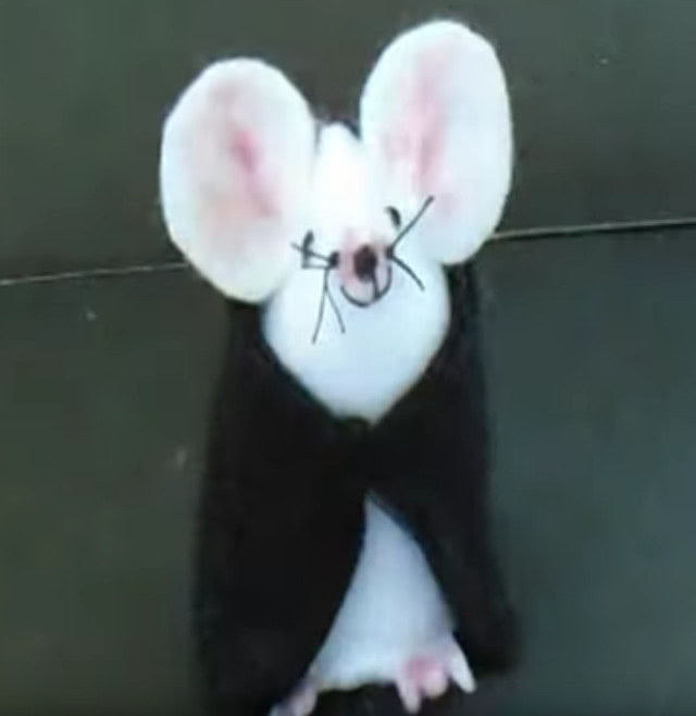 Винтажная мышка из фетра своими руками с выкройкой-7